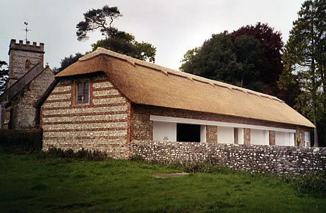 Large thatched garage on the Up Cerne Estate, Dorset