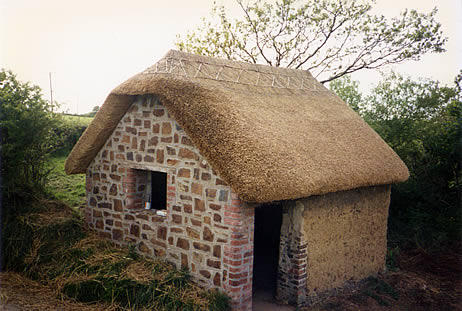 Simple thatched barn in combed wheat reed